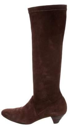 Oscar de la Renta Suede Round-Toe Boots