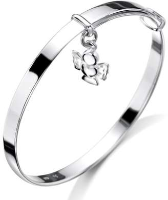 Jo for Girls Silver Angel Drop Bangle