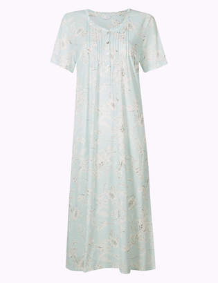 M S CollectionMarks and Spencer Cotton Rich Floral Print Nightdress 43bdd6b3f