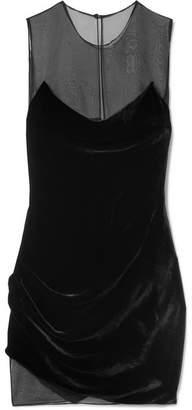 Cushnie - Draped Velvet And Organza Mini Dress - Black