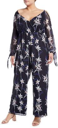 Avantlook Floral Cold-Shoulder Tie-Sleeve Jumpsuit, Plus Size