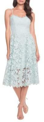 Dress the Population Brenna Crochet Lace A-Line Midi Dress