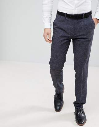 Farah Smart Skinny Wedding Suit Pants In Navy Fleck