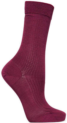 Falke No.2 Pointelle-knit Silk-blend Socks - Burgundy