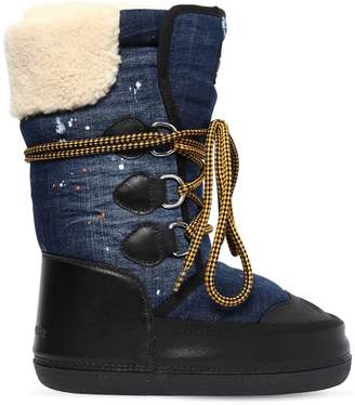 DSQUARED2 Denim & Faux Shearling Snow Boots