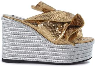 N°21 Gold Laminated Leather Slipper With Bow
