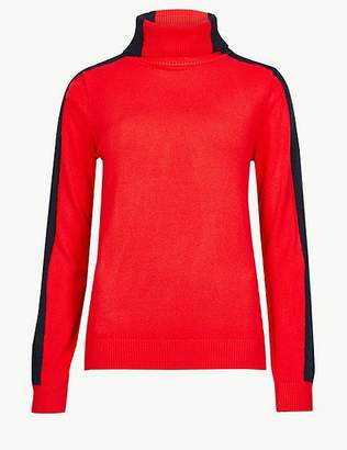 Marks and Spencer Colour Block Roll Neck Jumper