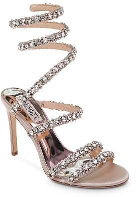 Badgley Mischka Women's Peace Embellished Satin Ankle Wrap High-Heel Sandals