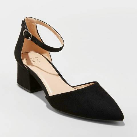 A New Day Women's Natalia Microsuede Pointed Toe Block Heeled Pumps