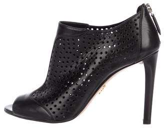 Prada Perforated Peep-Toe Booties