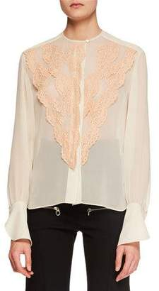 Chloé Long-Sleeve Lace-Front Chiffon Blouse