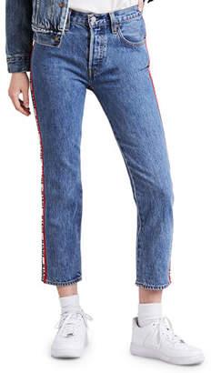 Levi's Premium 501 Cropped Straight-Leg Jeans w/ Racer Stripes