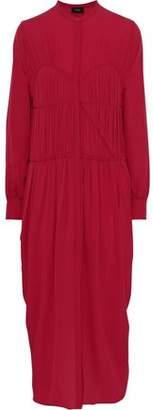 Joseph Pleated Ruffle-trimmed Silk Crepe De Chine Midi Dress