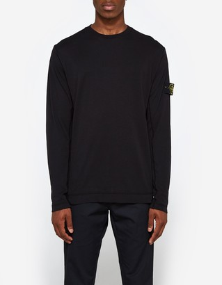 Mako Cotton Interlock LS Badge T-Shirt in Black $178 thestylecure.com