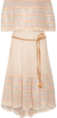 Miguelina Amaya Off-the-shoulder Striped Cotton-blend Midi Dress - Cream