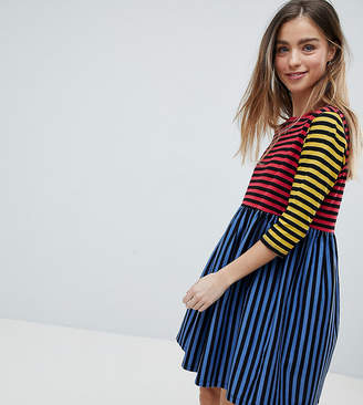 Asos Cut About Stripe Mini Smock Dress