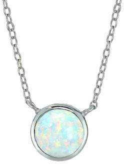 Lord & Taylor Sterling Silver Round Pendant Necklace