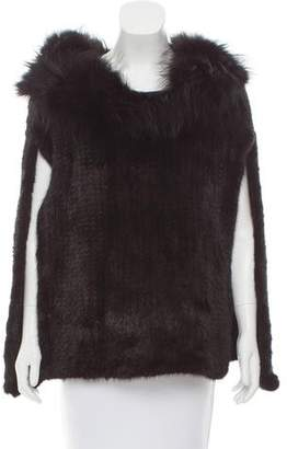 Christian Dior Mink & Fox Knitted Fur Cape w/ Tags