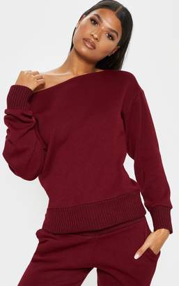 PrettyLittleThing Burgundy Knitted Lounge Set