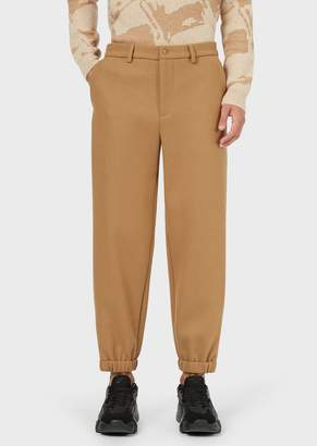 Emporio Armani Wool Trousers With Elasticated Cuffs
