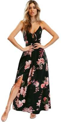 Eleter Women's Floral Strap Print Deep V-Neck Lace up Split Backless Beach Maxi Dress