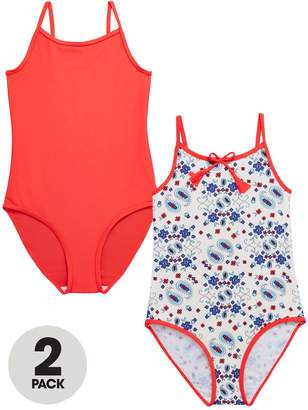 Very Pack of 2 Girls Swimsuits – Red/Paisley