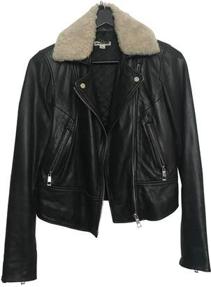 Whistles Black Leather Leather Jacket for Women