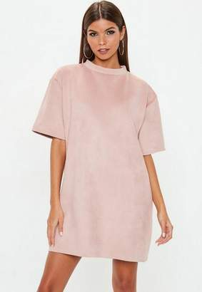 Missguided Pink Faux Suede T Shirt Dress