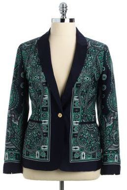 MICHAEL Michael Kors Plus Paisley Print One-Button Blazer