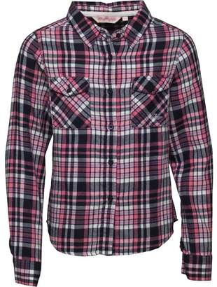 Board Angels Girls Long Sleeve Yarn Dyed Checked Shirt Navy Pink