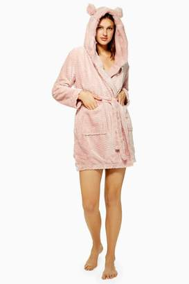 Topshop Dusty Pink Faux Fur Robe