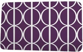 Simply Daisy 24 x 36 Inch Palm Beach Ovals Go 'Round Purple Geometric Print Bath Mat