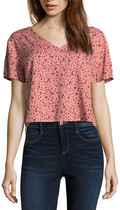 Arizona Short Sleeve V Neck Blouse-Juniors