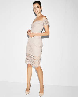Express Off The Shoulder Lace Sheath Dress