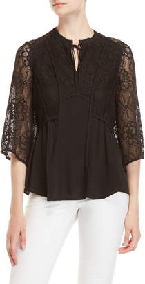 Badgley Mischka Silk Georgette Lace Top