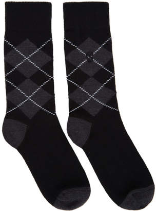 Alexander McQueen Black and Grey Argyle Socks