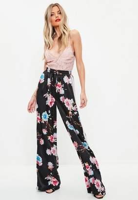 Missguided Black Floral Wide Leg Side Stripe Pants