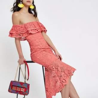 River Island Womens Pink bardot lace bodycon maxi dress