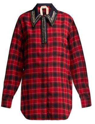 No.21 No. 21 - Crystal Embellished Checked Cotton Shirt - Womens - Black Red