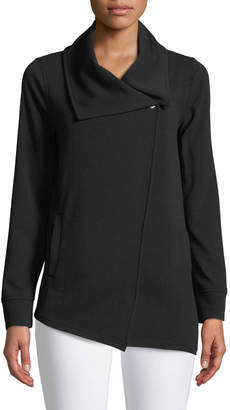 Kensie Asymmetric-Zip Crepe Jacket