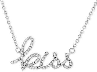 """Wrapped Diamond """"Kiss"""" 17"""" Pendant Necklace (1/6 ct. t.w.) in 14k White Gold"""