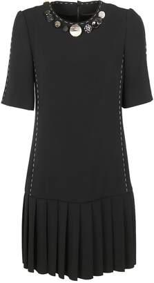 Dolce & Gabbana Button Detail Pleated Dress