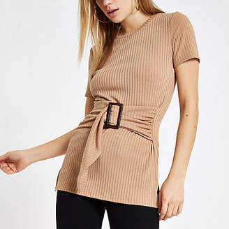 River Island Beige ribbed belted crew neck T-shirt