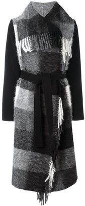 Twin-Set plaid fringed coat $318.35 thestylecure.com