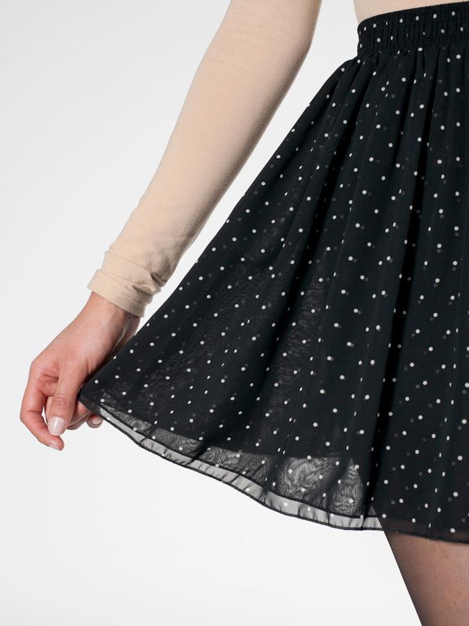 American Apparel Polka Dot Chiffon Double-Layered Shirred Waist Skirt