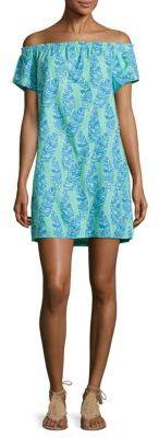 Vineyard Vines Palm Printed Off-the-Shoulder Dress $128 thestylecure.com