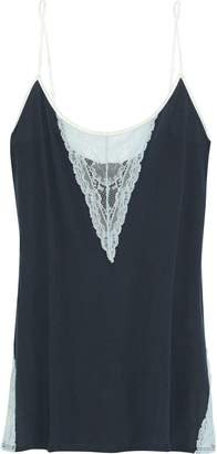 Skin Lace-paneled Cotton-jersey Chemise