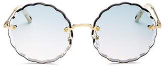 Chloé Rose Scalloped Rimless Round Sunglasses, 60mm