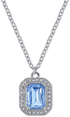 JCPenney 1928 Jewelry Blue Stone and Crystal Pendant Necklace