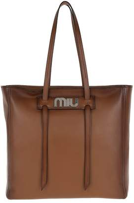 Miu Miu Grace Lux Soft Leather Shopping Bag Cognac